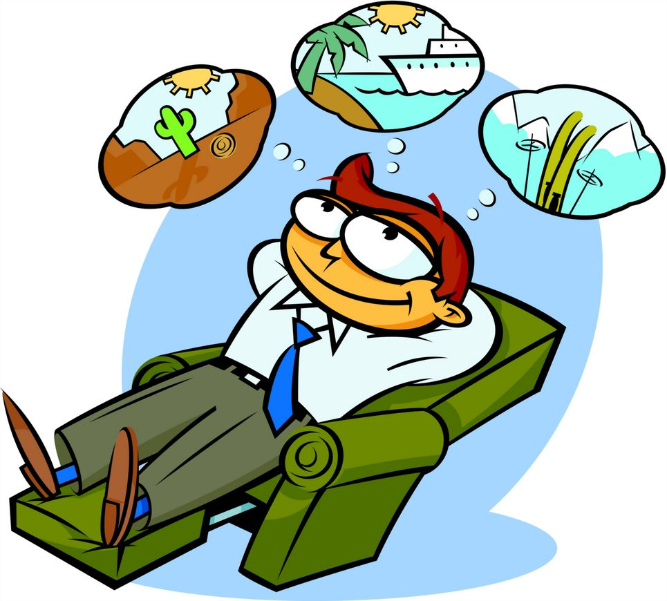 cartoon man dreaming about vacations